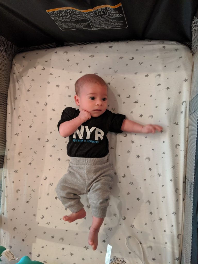 Our son sporting a New York R Conference shirt.